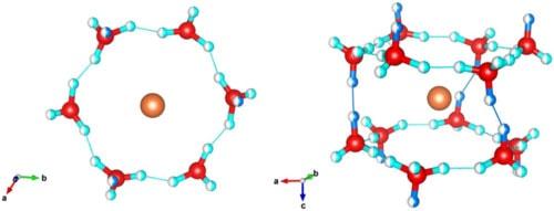 Схема строения нового гидрата водорода: оранжевым обозначена молекула водорода.