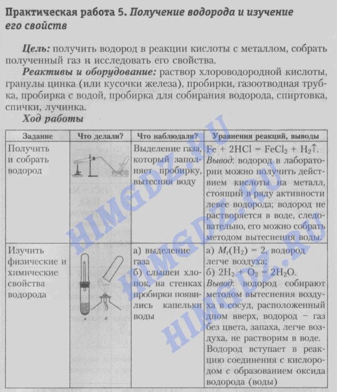 Шиманович 7 класс практическая работа № 5 - получение водорода и изучение его свойств.