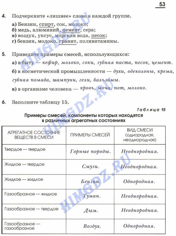 ГДЗ рабочая тетрадь Габриелян 7 класс 2009-2017 страница 53